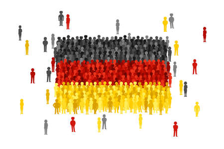 national women of color day: Vector Germany state flag formed by crowd of cartoon people