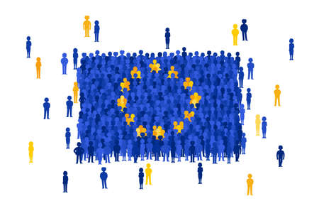 national women of color day: Vector European Union state flag formed by crowd of cartoon people Illustration