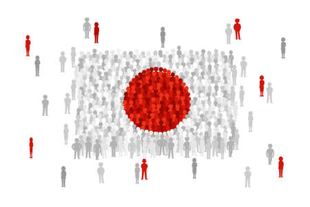 national women of color day: Vector Japan state flag formed by crowd of cartoon people