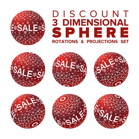 vector 3d christmas sale banner red and white ball rotations