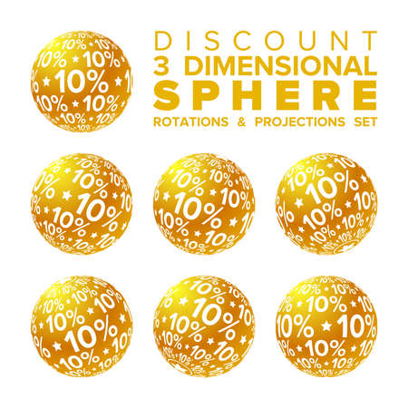 Vector 3d Christmas golden and white 10 percent discount ball rotations and projections set Illustration
