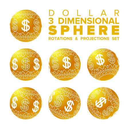 Vector 3d Christmas golden and white dollar ball rotations and projections set Illustration
