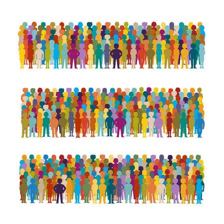 Conjunto de grupos de personas vector dispuestas en una fila en estilo plano Ilustración de vector