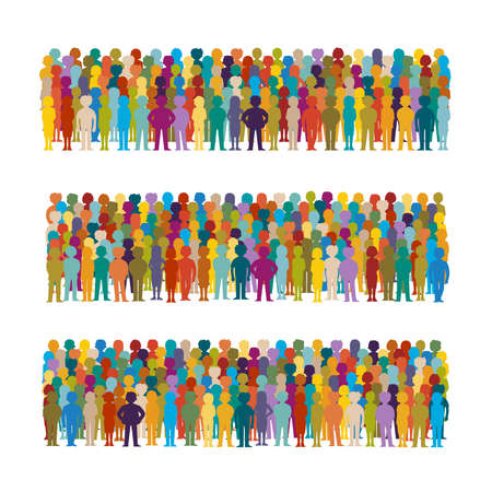 Set of vector people groups arranged in a row in flat style Векторная Иллюстрация