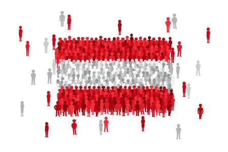 Vector Austria state flag formed by crowd of cartoon people Illustration