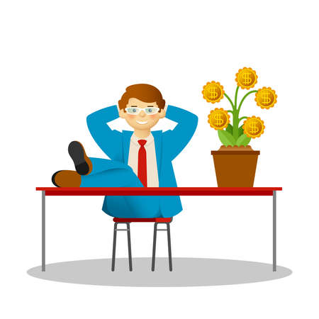 Vector carefree businessman concept with money tree in flat style