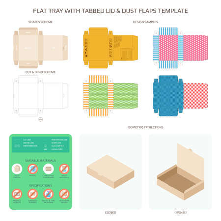 A Vector Flat tray with tabbed lid and dust flaps templates set Illustration