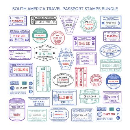 Vector South America colour travel visa stamps set Vectores