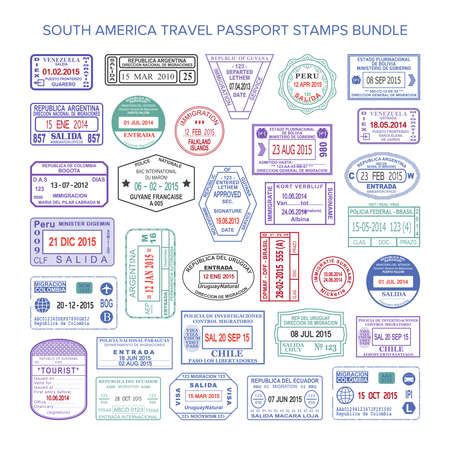 Vector South America colour travel visa stamps set Stock Illustratie