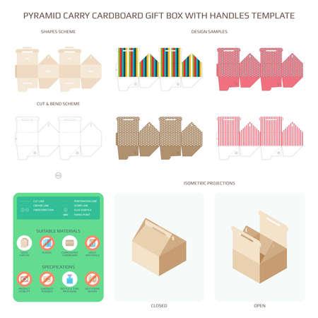 Boîte à cadeaux en carton style vecteur pyramide avec ensemble de modèles de poignées Vecteurs
