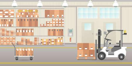 Warehouse hangar interior icon. Illustration