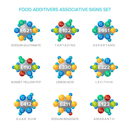 Food additives vector signs with associative molecular structures set.