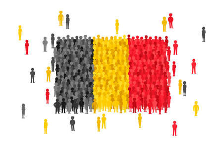 Vector Belgium state flag formed by crowd of cartoon people.