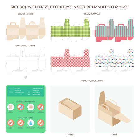 Vector gift box with safe bottom and handles templates set Illustration