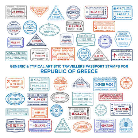 Custom vector typical artistic passport arrival and departure stamps variations set for Greece