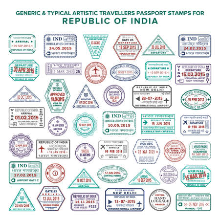 Custom vector typical artistic passport arrival and departure stamps variations set for India Ilustração