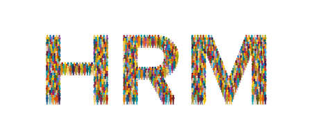 Vector crowd of people in form of HRM text flat style
