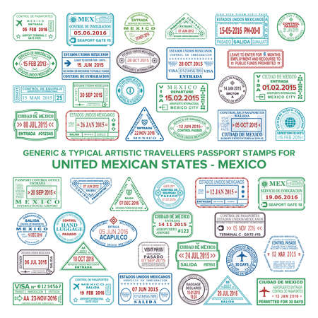 Custom vector typical artistic passport arrival and departure stamps variations set for Mexico.
