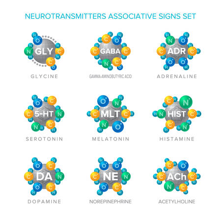 Neurotransmitters vector signs with associative molecular structures set. 일러스트