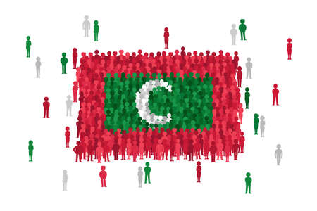 Vector Maldives state flag formed by crowd of cartoon people