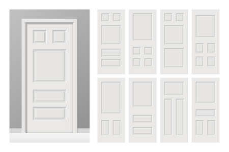 Vector white painted interior wooden doors set in flat style. Banque d'images - 94833146