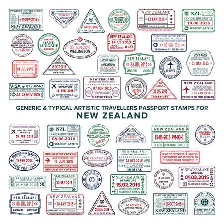 Aangepaste vector typische artistieke paspoort aankomst en vertrek stempels variaties ingesteld voor Nieuw-Zeeland