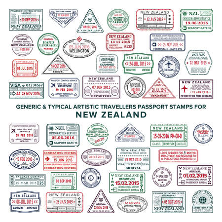 Custom vector typical artistic passport arrival and departure stamps variations set for New Zealand Vettoriali