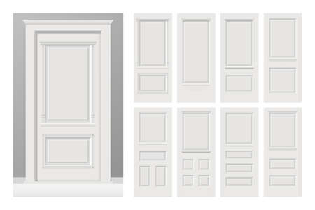 Vector white painted interior wooden doors set in flat style