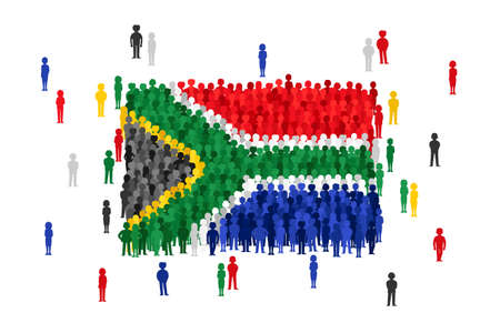 Vector South Africa state flag formed by crowd of cartoon people Imagens - 95423052