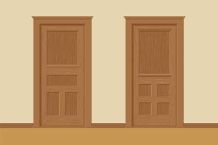 Vector Textured Wooden Interior Doors With Door Frames In Flat