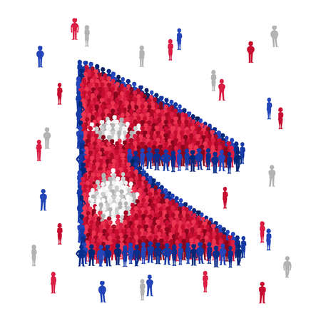 Vector Nepal state flag formed by crowd of cartoon people