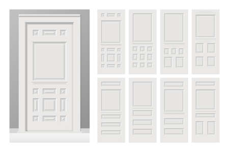 Vector white painted interior wooden doors set in flat style. Realistic proportions, 1:100 scale. Banque d'images - 95765503