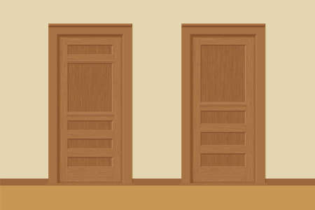 Vector textured wooden interior doors with door frames in flat style. Иллюстрация