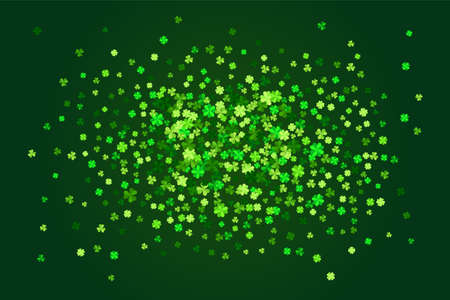 Vector green clover leaves greeting card background for Saint Patrick`s Day in flat style