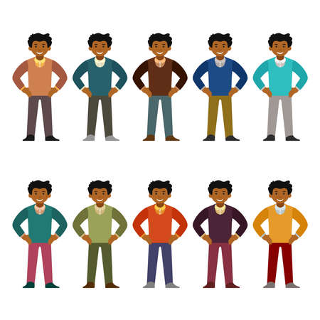 Vector african office worker character set in flat style Illustration