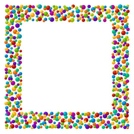 Vector vibrant color soap bubles or confetti festive text box Çizim