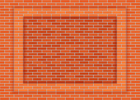 Vector classic red clay brick wall frame or background