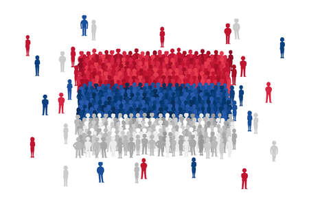 Vector Serbia state flag formed by crowd of cartoon people Illustration