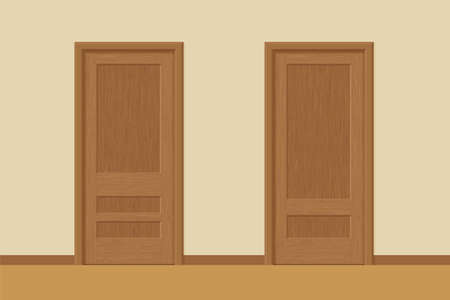 Vector textured wooden interior doors with door frames in flat style. Realistic proportions, 1:100 scale.