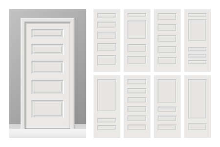 Vector white painted interior wooden doors set in flat style.