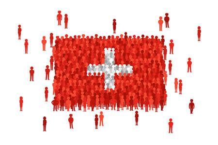 Vector Switzerland state flag formed by crowd of cartoon people