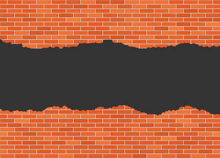 Vector torn in half brick wall background with big dark hole