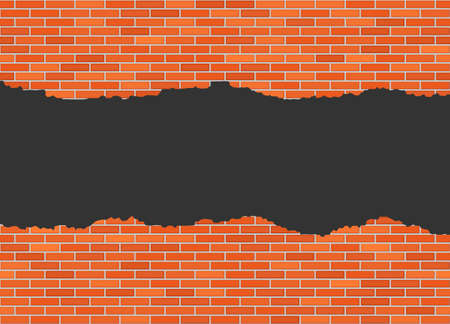 Vector torn in half brick wall background with big dark hole