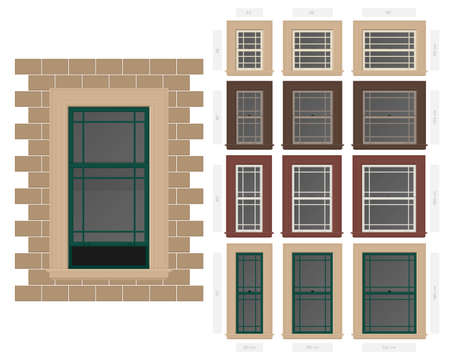 A Vector single hung prairie style typical window set in different sizes and colors Ilustração