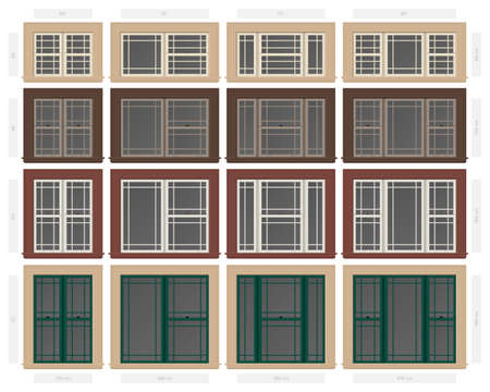 A Vector single hung prairie style composite window set in different sizes and colors