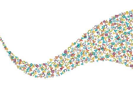 Vector ondulato colorato striscia fatta da simboli dell'alfabeto, lettere o caratteri in stile piano