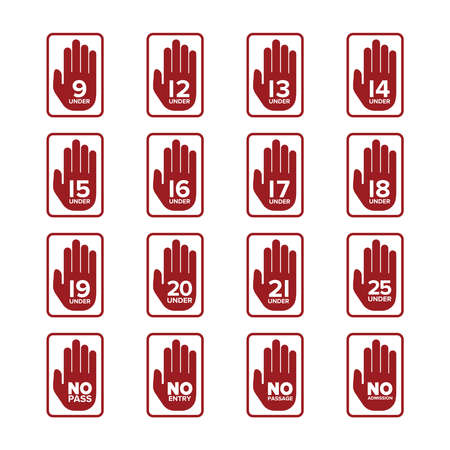 Vector age limitation and restriction signs set