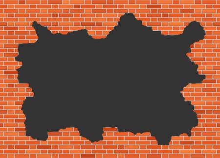 Vector brick broken wall background with big dark hole Illustration