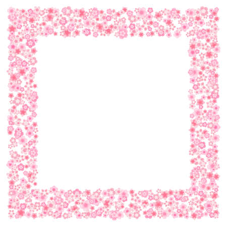 Vector blossom greeting card background with pink cherry or sakura flowers in flat style