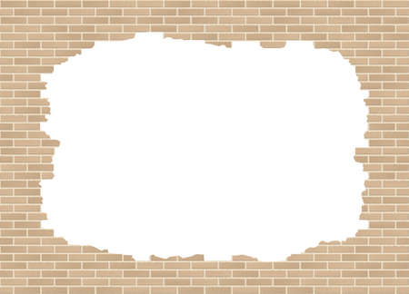 Vector broken brick wall background with big hole